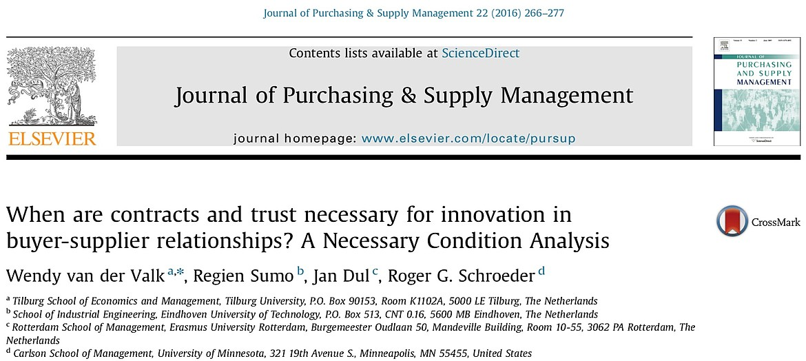 Necessary Condition Analysis NCA paper on necessity of contracts and trust