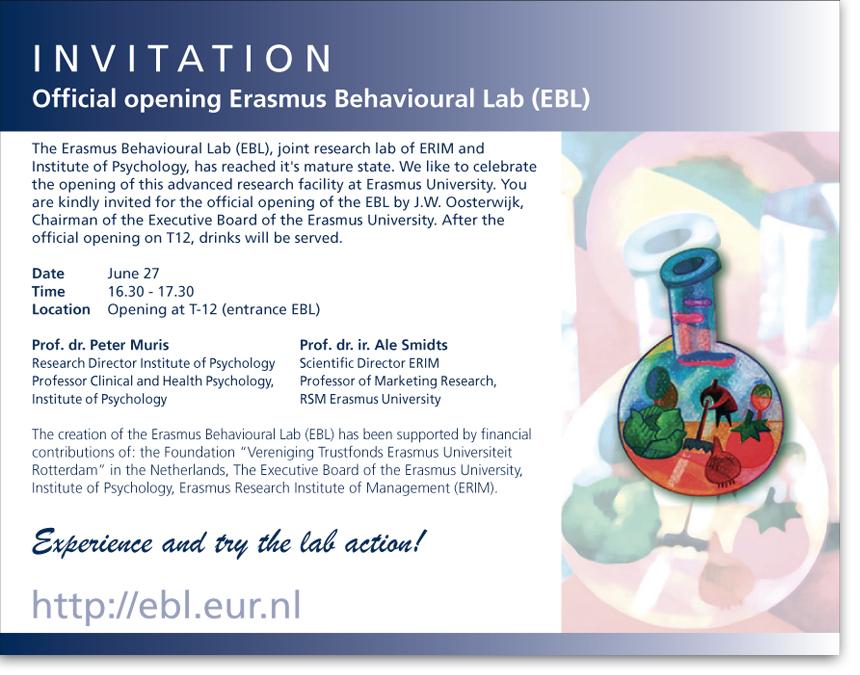 Invitation: Official Opening Erasmus Behavioural Lab (EBL ...