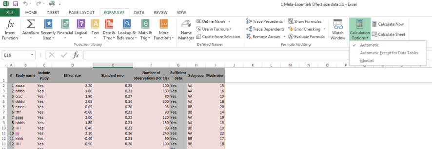 Microsoft Excel Calculation Options